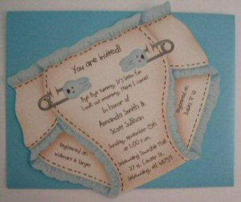 Diaper Shaped Cutout Baby Shower Invitations Dsi 1
